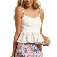 All Eyelets On You Peplum Top $26