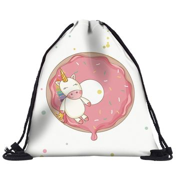 Unicorn Donut Drawstring Bags Cinch String Backpack Funny Funky Cute Novelty