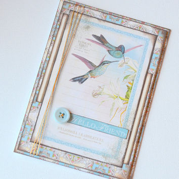 Blank Thinking of You/Just Because/Friendship Handmade Greeting Card, For a Friend, Any Occasion Paper Craft, Vintage Style Hummingbird Card