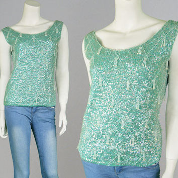 Vintage 50s Beaded Top Knitted Top Wool Jumper Party Top Beaded Sweater Sequin Sweater Teal Sweater Sleeveless Top 1950s Top Wool Shirt