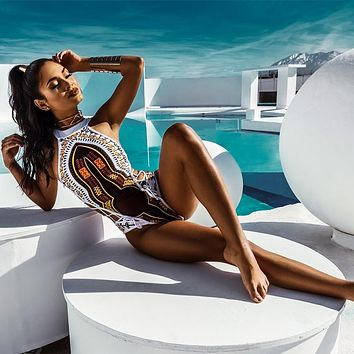 FIGOBELL African Printed Swimwear One Piece Swimsuit 2018 Women High Cut Trikini Thong Monokini Brazilian Plus Size Bathing Suit