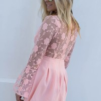 Seeing Rose Blush Bell Sleeve Lace Romper