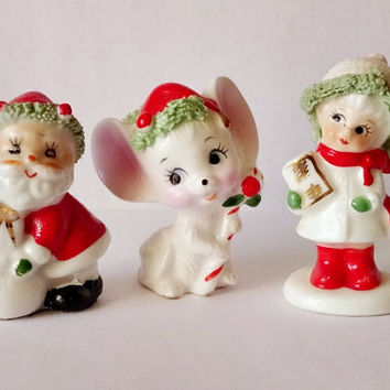 Small Vintage Christmas Figurines Girl Mouse Santa Claus Bone China 3