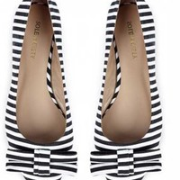 Sole Society 'Kameko' black and white stripe bow flats