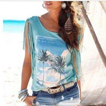 ICIKW Fashion Tassel Coconut Tree Blouse Shirt Top Tee