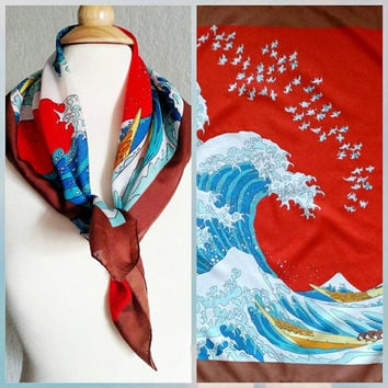 Vintage   Hokusai   The Great Wave off Kanagawa   36 Views of Mt. Fuji   Square Neck Scarf   26 inches   statement scarf   wall hanging