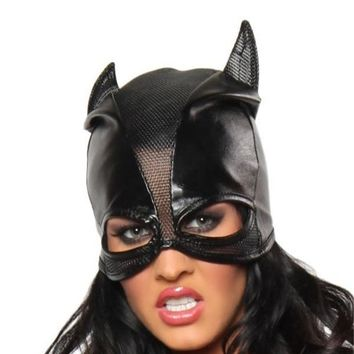 1PCS Sexy Faux Leather Black PVC Cat Women Leather Wet Look Head Mask Costume Sexy Lingerie Holloween Cosplay Culb Wear