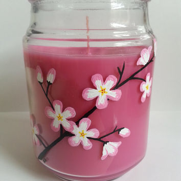 Cherry Blossom Candle, Hand Painted Candle, Sakura Cherry Blossoms, Painted Glass, Scented Candle, Pink Candle, More Scents Available!