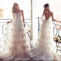Backless Spring/Summer Lace Wedding Dress Spaghetti Straps Bridal Dress Gown