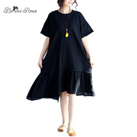 BelineRosa Plus Size Women Dress Casual Loose Women Clothing Ruffled Hem Black Dress Women Fit L ~ 3XL HS000267