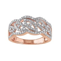 1/5 Carat T.W. Diamond Pink Rhodium-Plated Sterling Silver Openwork Ring (White)