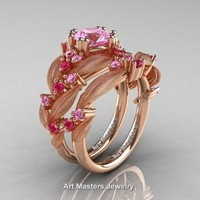 Nature Classic 14K Rose Gold 1.0 Ct Light Pink and Pink Sapphire Leaf and Vine Engagement Ring Wedding Band Set R340SS-14KRGPSLPS