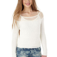 Dot Lace Shoulder Sweater