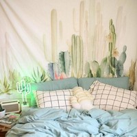 Cactus Tapestry Bohemia Sunbathing Wall Hanging Tapestry Home Decor Square Beach Towel 150x150cm Living Room Blanket