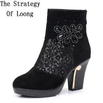thick heel women summer boots womens boots genuine leather autumn spring ankle boots for women lace cut out black ankle boots
