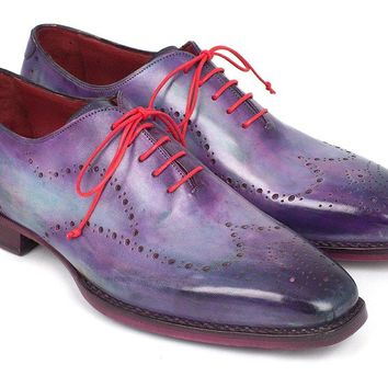 Paul Parkman Men's Wingtip Oxfords Goodyear Welted Purple Shoes (ID#87PRP11)