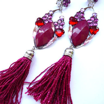 Multicolor Earrings, Statement earrings, Tassel earrings, Deep Red earrings, burgundy earrings, Big earrings, Huge earrings, teardrop
