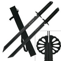 BladesUSA HK-6183 Twin Ninja Swords, Two-Piece Set, Black, 28-Inch Overall