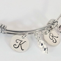 Two Peas in a Pod Hand Stamped Adjustable Bangle with Pea Pod Charm and Swarovski Crystal Bir