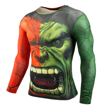 Hulk Man 3D Print T-Shirt Compression Shirt Men Summer