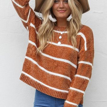 Fight For It Camel Chenille Sweater - Amazing Lace