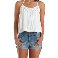 Ivory Knotted Fringe Halter Top by Charlotte Russe
