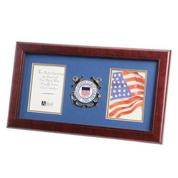U.S. Coast Guard Medallion Double Picture Frame Hand Made By Veterans