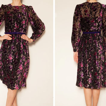 1980's japanese black chiffon velvet floral vintage dress,Art deco dress,Long sleeve dress,sheer dress, autumn dress, floral dress,Tea dress