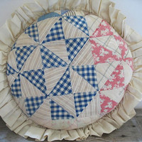 Vintage Quilted Pillow, Round Pillow, Country Decor, Cottage Decor, Blue Patchwork Pillow