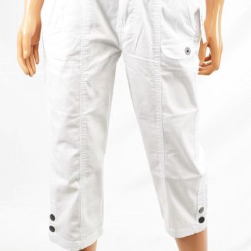 Style&co Women's Stretch White Mid Rise Chambray Cargo Capri Cropped Pant 6