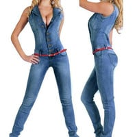 women catsuit Jumpsuits jeans Pants long pants Ladies sexy jeans long sexy sleeveless deep V collar blue slim style.JN52