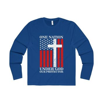 One Nation Under God Our Protector - Men's Sleeved Top