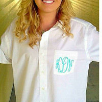 Monogram Oversized Long Sleeve Button Down Shirt. Great for bridal party.