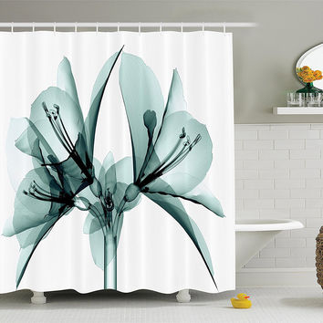 Petals of Teal Floral Fabric Shower Curtain