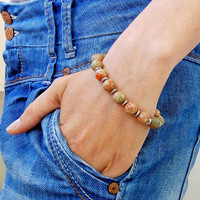 Bracelet UNAKITE 10 mm Natural Women Bracelet Chakra Energy Unakite Meditation Healt Charms Bracelet Energy Unakite Beaded Bracelet