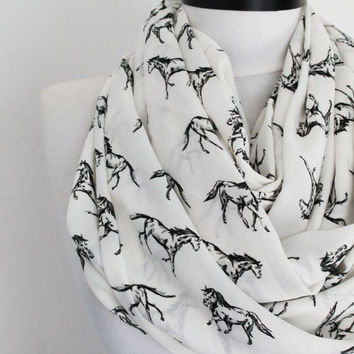 white horse chiffon scarf,infinity scarf, scarf, scarves, long scarf, loop scarf, gift