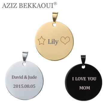 Free Engraving Stainless Steel Round Pendants Laser Engrave Name Tel ID Tag Necklace for Kid Pendant for Senile Dementia People