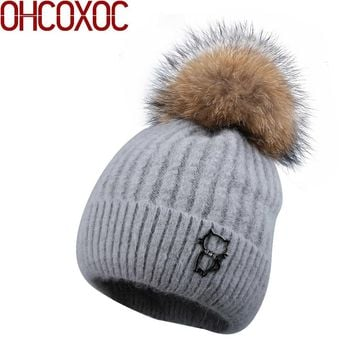 Good quality wool winter hats for women woman striped knitted cashmere double layer thick real fox fur pompon ball beanies gorro