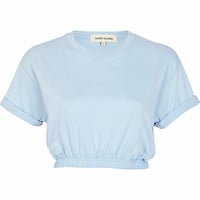Light blue elasticated hem cropped t-shirt