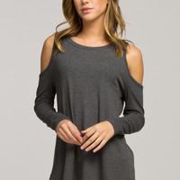 Casual Cold Shoulder Top - Charcoal