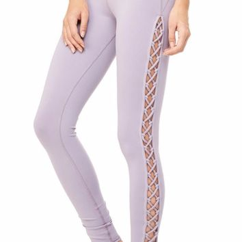Lace Up Lavender Yoga Leggings