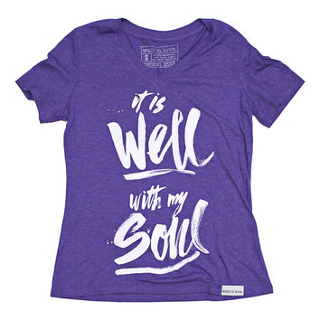 It Is Well Purple Women's Relaxed V-Neck