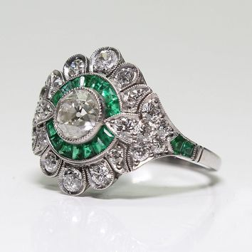Antique Reproduction Jewelry Ring - Emeralds - Free Shipping