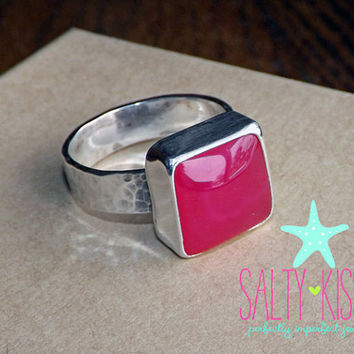 Large Rare HOT PINK Chalcedony cushion cut square sterling silver ring stacking hammered thick band jewelry statement cocktail