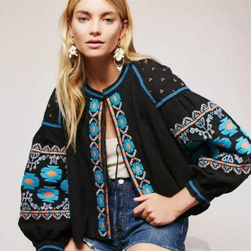 Free People Fashion Multicolor Jacket Retro Totem Embroidery Long Sleeve Cardigan Coat