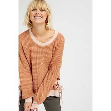 Clay Waffle Knit Top