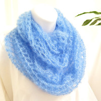 Soft blue cowl, silk mohair crochet infinity scarf, hand made neck warmer, gift under 40