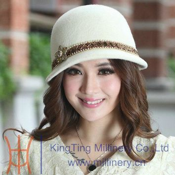 Free Shipping Fashion and New Elegant  Ladies Winter Hats Handmade Wool Felt Hats Natural 100% Wool Made Two Colors Available