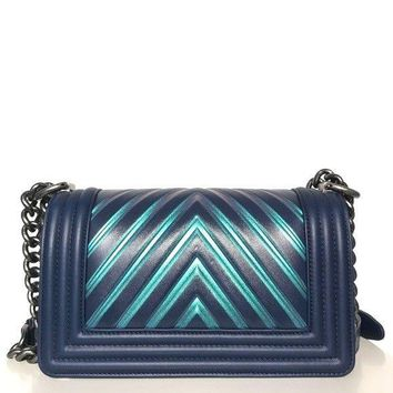 Chanel Painted Chevron Iridescent Boy Bag (Size - Small)