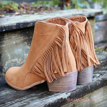Southwest Bluffs Rust Fringe Suede Booties